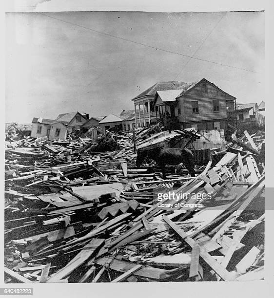 A few houses still lean stand in a neighborhood full of wreckage and rubble left after the Galveston Hurricane of 1900