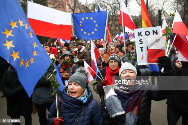 Few hundred people attended 'March against Fascism' to protest against any antisemitic racist xenophobic and fascist organizations in Poland Krakow...