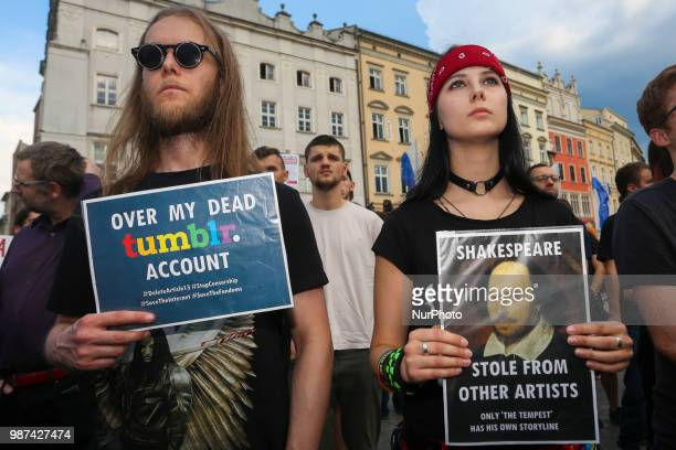 Few hundred people gathered during 'Stop ACTA 20' protest at the Main Square in Krakow Poland on 29 June 2018 Demonstrations were held in main Polish...
