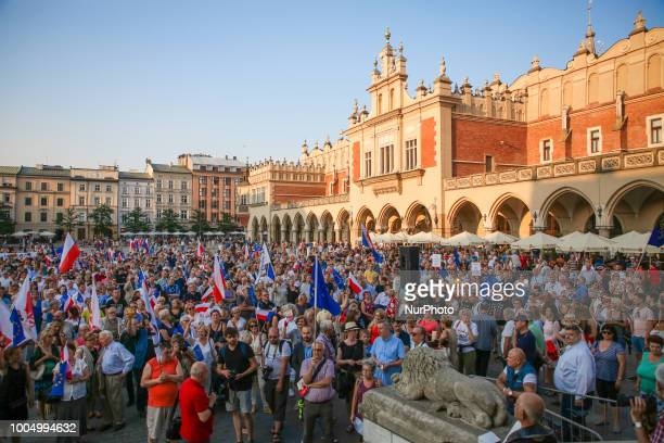 Few hundred people protested at the Main Square against the new bill introduced by Law and Justice ruling party which will change the judiciary...