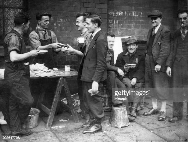 A few of the 300 Scottish hunger marchers seen here having a meal before setting off again from Manchester for London The Scottish contingent of the...