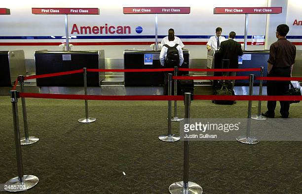 A few passengers check in at the American Airlines ticket counter at San Francisco International Airport September 11 2003 in San Francisco...