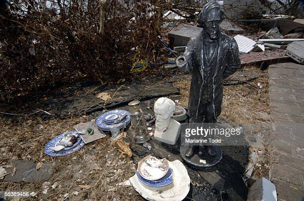 A few spared artifacts are seen among the ruins at Beauvoir the historic Jefferson Davis home September 12 2005 in Biloxi Mississippi The home...