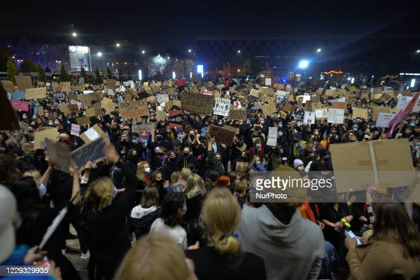 Few thousands of Pro-Choice activists seen during a protest outside Krakow's National Museum. Women's rights activists and their supporters staged...