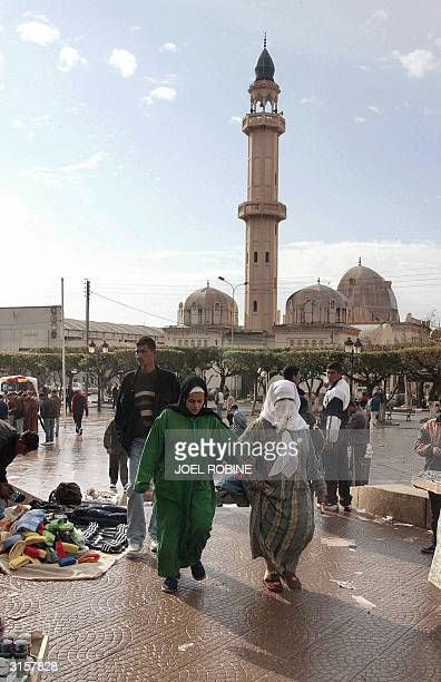 A few weeks before the presidential elections 08 April Algerian women visit a street market in Blida 50 km southeast of the capital city of Algiers...