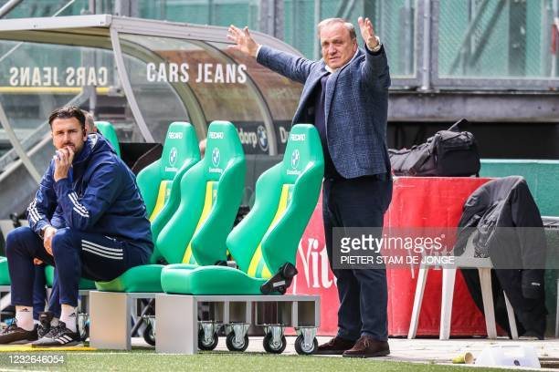 Feyenoord coach Dick Advocaat reacts during the Dutch Eredivisie match between ADO Den Haag and Feyenoord at the Cars Jeans stadium in The Hague on...