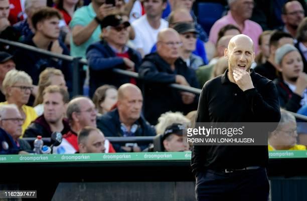 Feyenoord FC coach Jaap Stam looks on during the Eredivisie footbal match between Feyenoord and FC Utrecht in De Kuip Rotterdam on August 18 2019