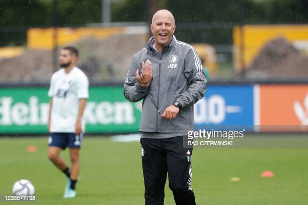 Feyenoord football club manager Arne Slot attends a training session at the Varkenoord training complex next to the De Kuip stadium on June 21 the...