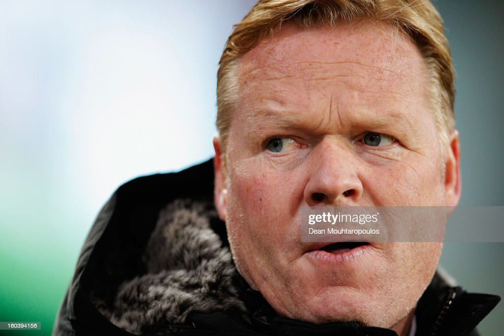 Feyenoord Manager / Coach, Ronald Koeman looks on during the KNVB Dutch Cup match between PSV Eindhoven and Feyenoord Rotterdam at Philips Stadion on January 30, 2013 in Eindhoven, Netherlands.