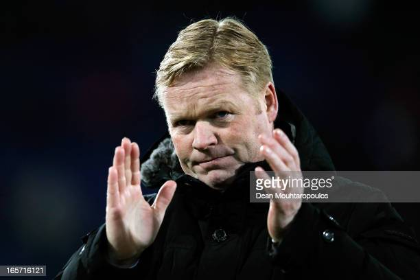 Feyenoord Manager, Ronald Koeman thanks the fans after victory in the Eredivisie match between Feyenoord and VVV Venlo at De Kuip on April 5, 2013 in...