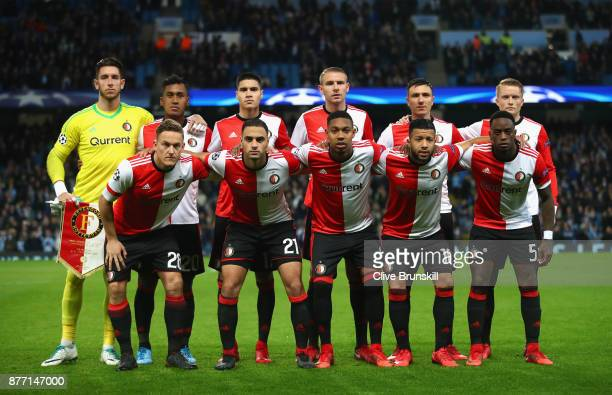Feyenoord players line up prior to the UEFA Champions League group F match between Manchester City and Feyenoord at Etihad Stadium on November 21...