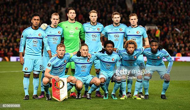 Feyenoord pose for a team photograph ahead of the UEFA Europa League match between Manchester United FC and Feyenoord at Old Trafford on November 24...