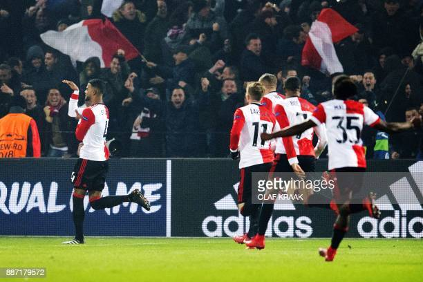 Feyenoord's Dutch defender Jeremiah St Juste celebrates after scoring a goal during the UEFA Champions League Group F football match between...