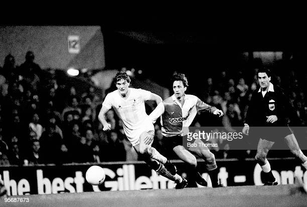 Feyenoord's Johan Cruyff with Tottenham Hotspur's Glenn Hoddle during their UEFA Cup 2nd round 1st leg match held at White Hart Lane London on 19th...