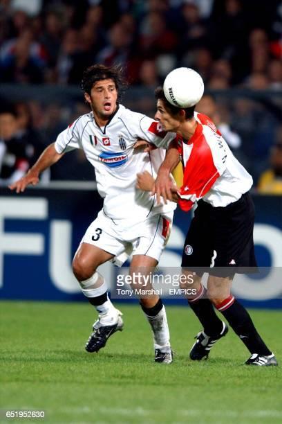 Feyenoord's Kees Van Wonderen battles for the ball with Juventus' Alessio Tacchinardi