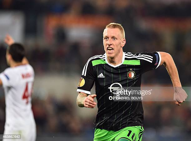 Feyenoord's midfielder Lex Immers celebrates a goal during the UEFA Europa League round of 32 match AS Roma vs Feyenoord at the Olympic Stadium in...