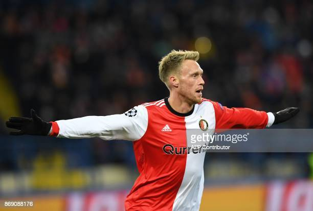 Feyenoord's Nicolai Jorgensen celebrates after scoring during the UEFA Champions League Group F football match between FC Shakhtar Donetsk and...
