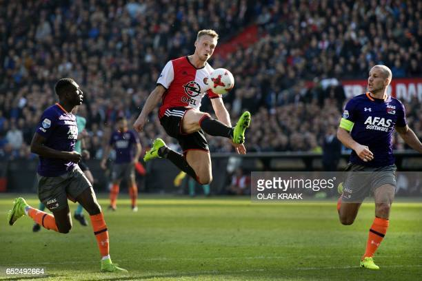 TOPSHOT Feyenoord's Nicolai Jorgensen reacts during the Dutch Eredivisie match Feyenoord versus AZ Alkmaar on March 12 2017 at the Stadion Feijenoord...
