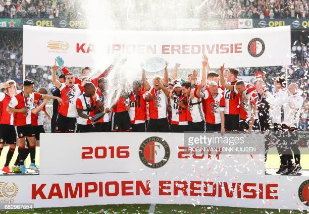 Feyenoord's players celebrate after winning the champions trophy during the Dutch Eredivisie match between Feyenoord Rotterdam and Heracles Almelo in...