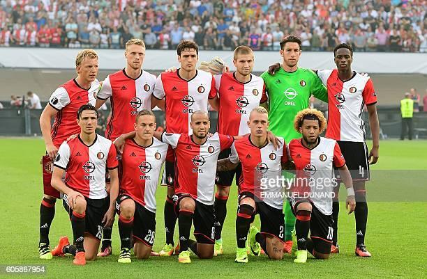 Feyenoord's players pose before the UEFA Europa League match between Feyenoord Rotterdam and Manchester United at the Feyenoord Stadium in Rotterdam...