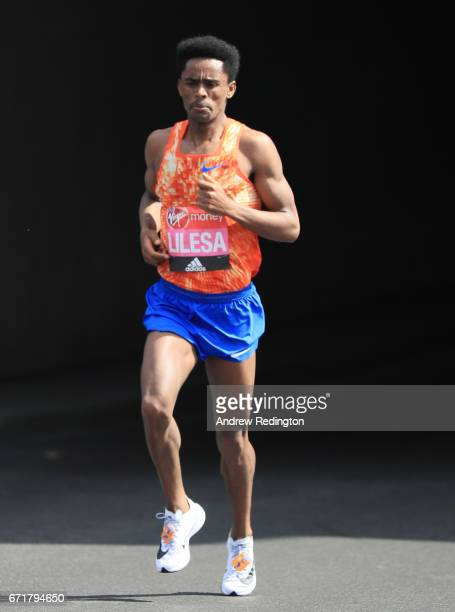 Feyisa Lilesa of Ethiopia competes during the Virgin Money London Marathon on April 23 2017 in London England