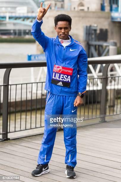 Feyisa Lilesa of Ethopia is seen running during the London Marathon photo call on April 20 2017 in London United Kingdom