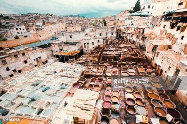 fez cityscape fes leather tannery morocco africa - mlenny photography stock pictures, royalty-free photos & images