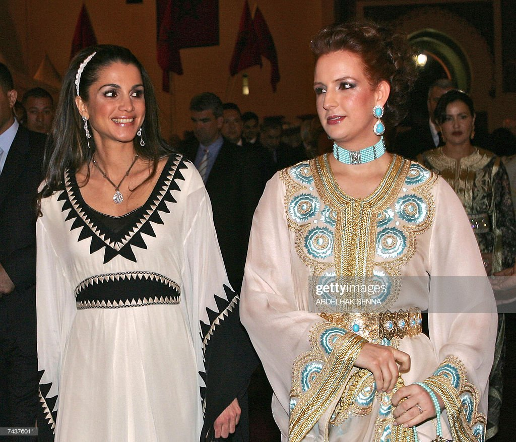 Queen Rania of Jordan (L) and Morocco's... : News Photo