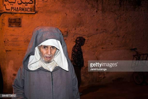 Fez, Morocco: Senior Man in Burnoose in Old Medina
