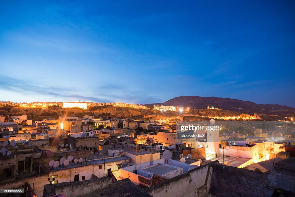 Fez, Morocco skyline at dusk : Stock Photo