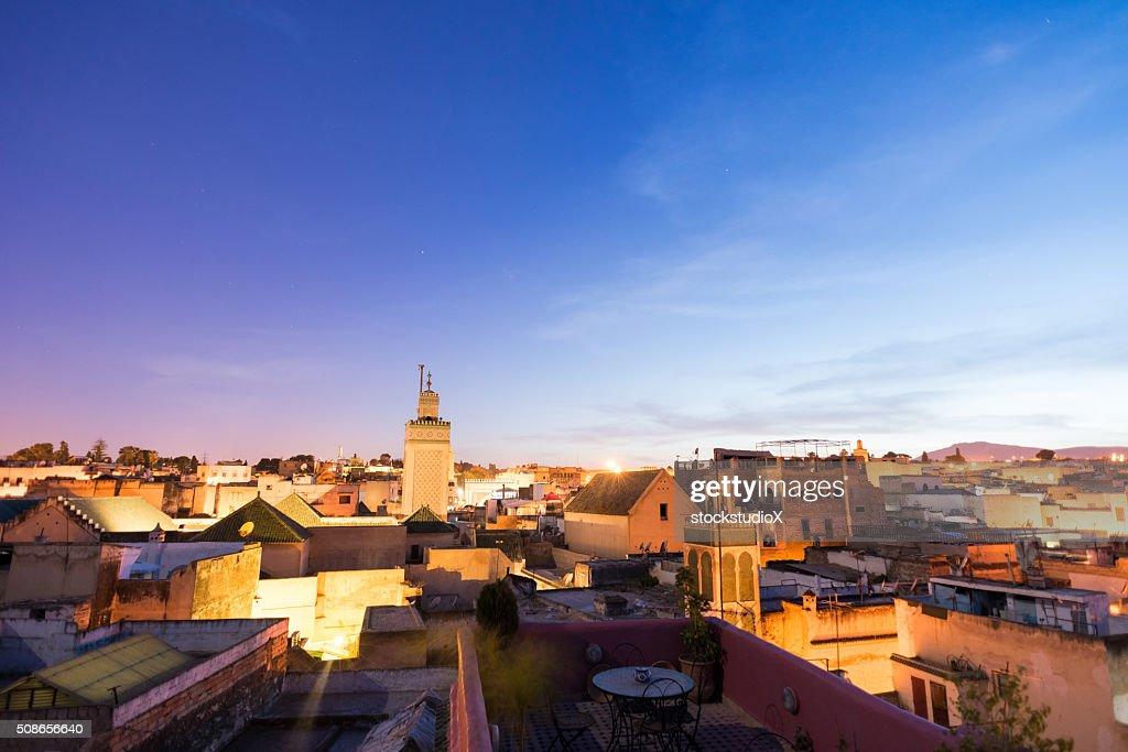 Fez, Morocco skyline at dusk : Stock Photo
