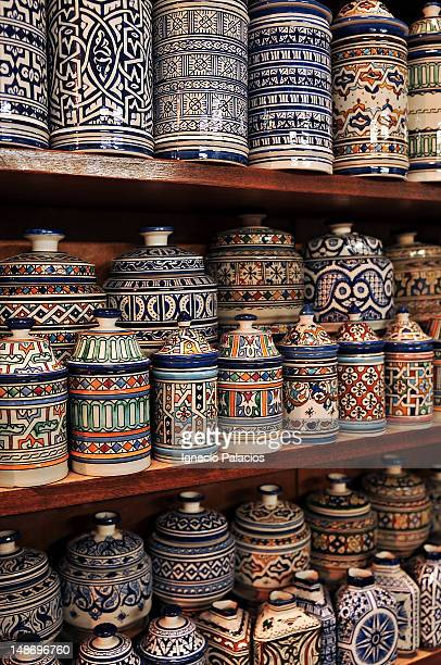 Fez pottery on display.