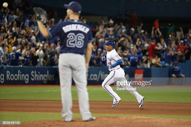 TORONTO ON SEPTEMBER 12 FEzequiel Carrera hits the game winning home run in the bottom of the eighth inning as the Toronto Blue Jays play the Tampa...
