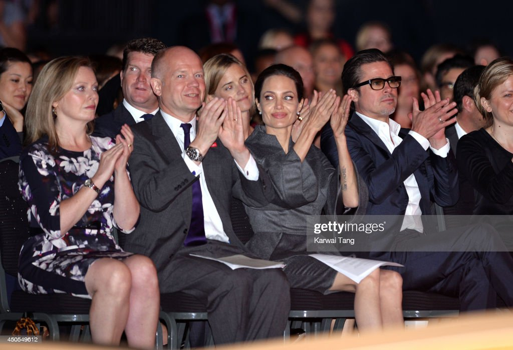 Ffion Hague, William Hague, Angelina Jolie and Brad Pitt attend the Global Summit to end Sexual Violence in Conflict at ExCel on June 13, 2014 in London, England.