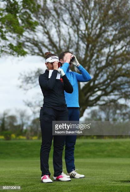 Ffion Tynan and Aine Donegan prepare to tee off the 3rd hole during the final round of the Girls' U16 Open Championship at Fulford Golf Club on April...