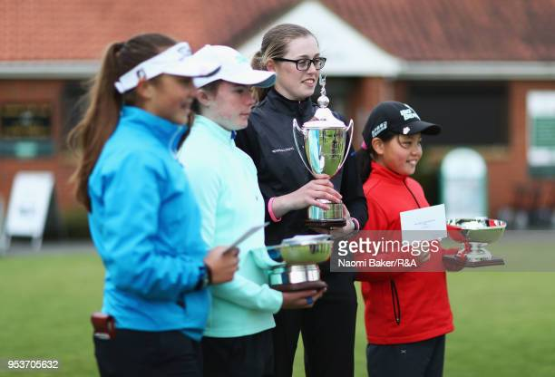 Ffion Tynan Beth Coulter Hannah Darling and Rosie Bee Kim pose with their respective trophies after the final round of the Girls' U16 Open...