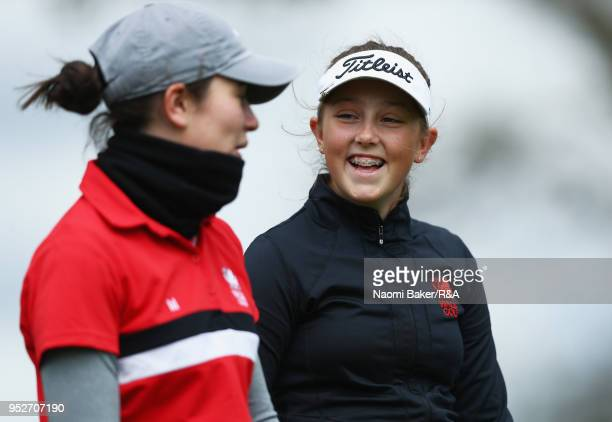 Ffion Tynan enjoys the final round of the Girls' U16 Open Championship at Fulford Golf Club on April 29 2018 in York England