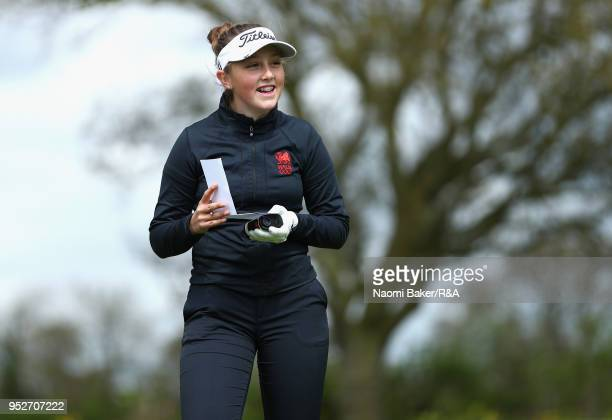 Ffion Tynan looks on before taking her shot off the 3rd tee during the final round of the Girls' U16 Open Championship at Fulford Golf Club on April...