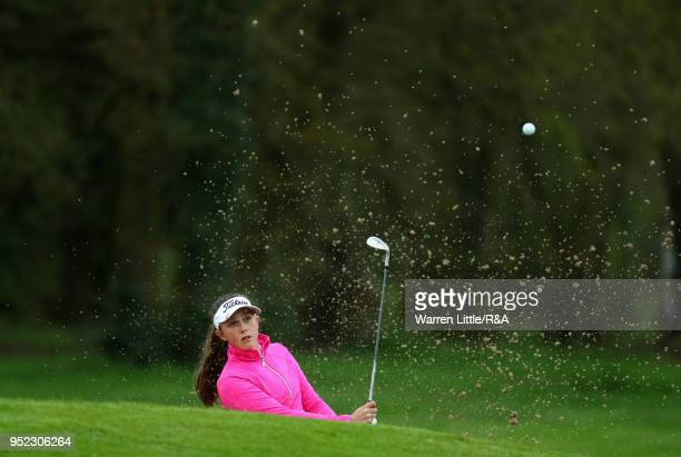 Ffion Tynan plays out of the 18th greenside bunker during the second round of the Girls' U16 Open Championship at Fulford Golf Club on April 28 2018...