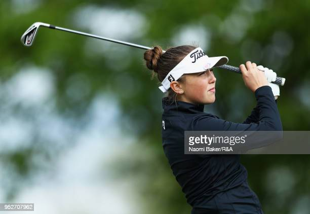 Ffion Tynan takes her shot off the 3rd tee during the final round of the Girls' U16 Open Championship at Fulford Golf Club on April 29 2018 in York...