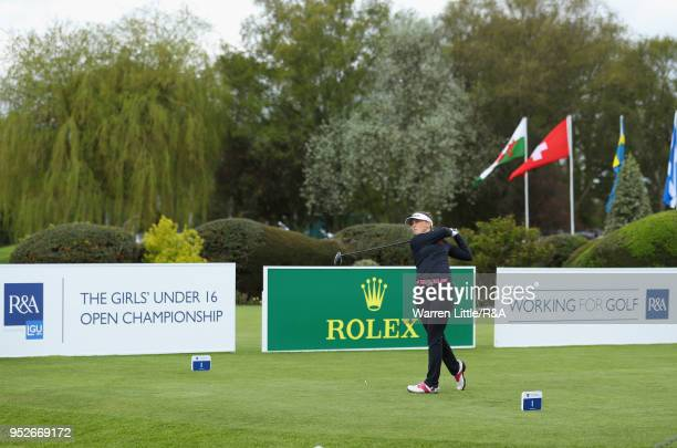 Ffion Tynan tees off on the first hole during the final round of the Girls' U16 Open Championship at Fulford Golf Club on April 29 2018 in York...