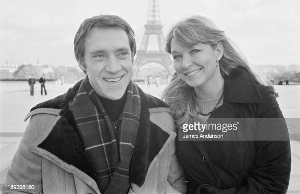 FFrench actress Marina Vlady in front of the Eiffel Tower at the Trocadero Paris with her husband Vladimir Vysotsky a Russian antiestablishment actor...