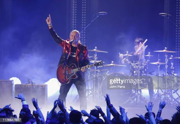 Fher Olvera of Mana performs on stage at Univision's 31st Edition Of Premio Lo Nuestro A La Musica Latin at American Airlines Arena on February 21...