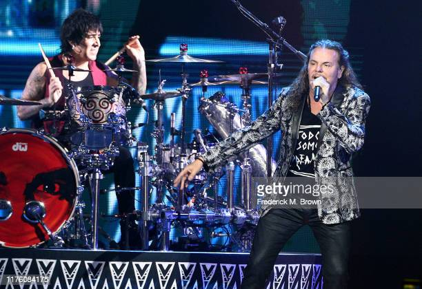 Fher Olvera of the Latin Rock band Mana performs during concert at The Forum on September 20 2019 in Inglewood California