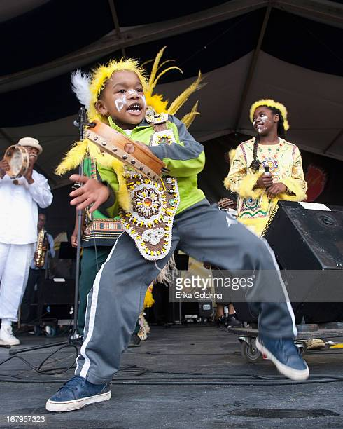 Fi Yi Yi Mandingo Warriors perform during the 2013 New Orleans Jazz Heritage Music Festival at Fair Grounds Race Course on May 2 2013 in New Orleans...