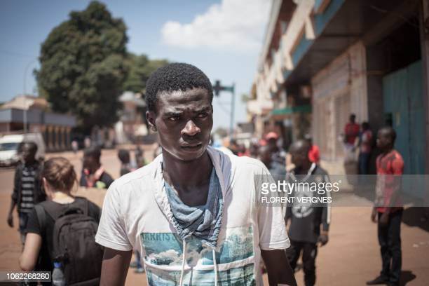 Fiacre Bindala the Central African actor who plays the fictional character of Cyril a friend of Camille Lepage who became antibalaka rehearses in the...