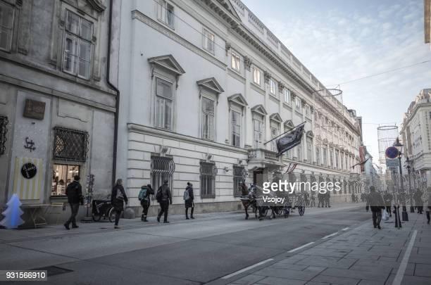 fiaker and the streetview at vienna, austria - vsojoy stockfoto's en -beelden