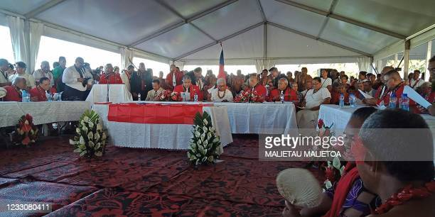 Fiame Naomi Mata'afa sits with members of parliament and the judiciary as she is sworn in as Samoa's first woman prime minister in Apia on May 24 at...