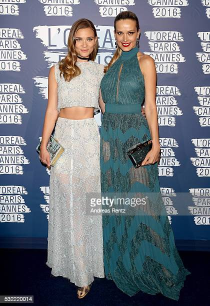 Fiammetta Cicogna and Petra Nemcova attends the L'Oreal Party during the annual 69th Cannes Film Festival at on May 18 2016 in Cannes France
