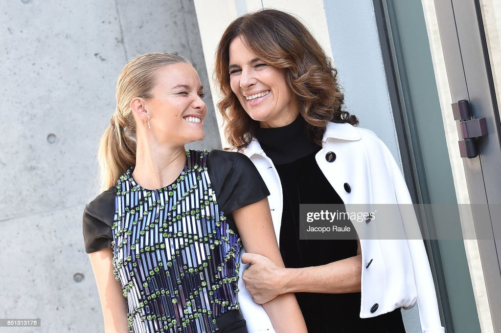 Fiammetta Cicogna (L) and Roberta Armani attend the Giorgio Armani show during Milan Fashion Week Spring/Summer 2018 on September 22, 2017 in Milan, Italy.